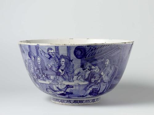 Nederlandse porseleinen punchkom uit 1750