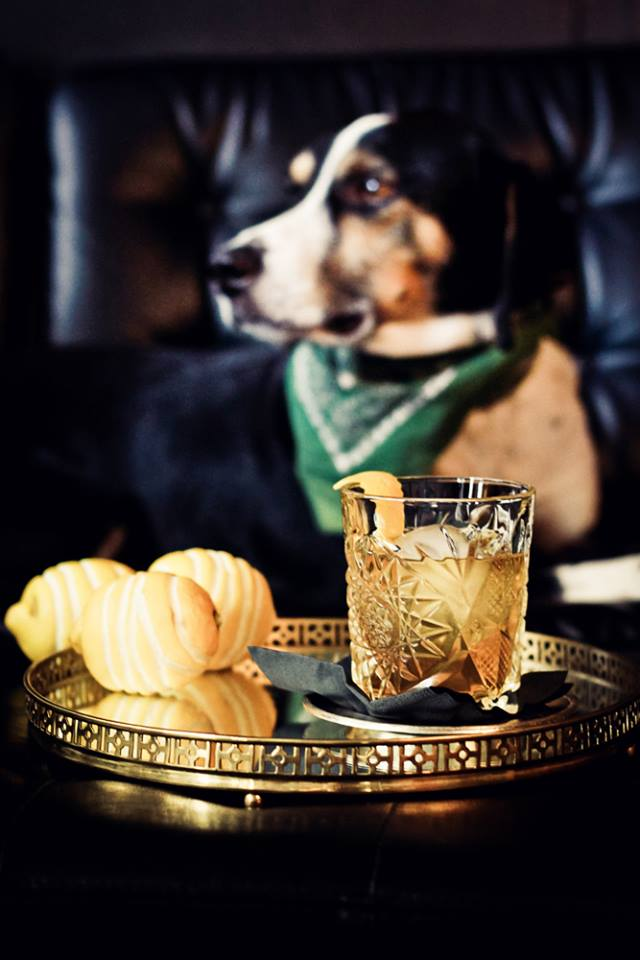 Improved Old Fashioned, the dog is a mandatory garnish