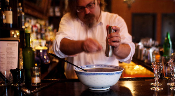 David Wondrich - author of the book: 'Punch' - grating some nutmeg