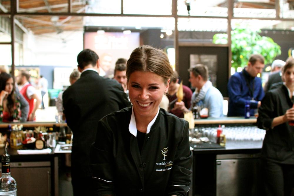 Hannah working her magic at the World Class bar.