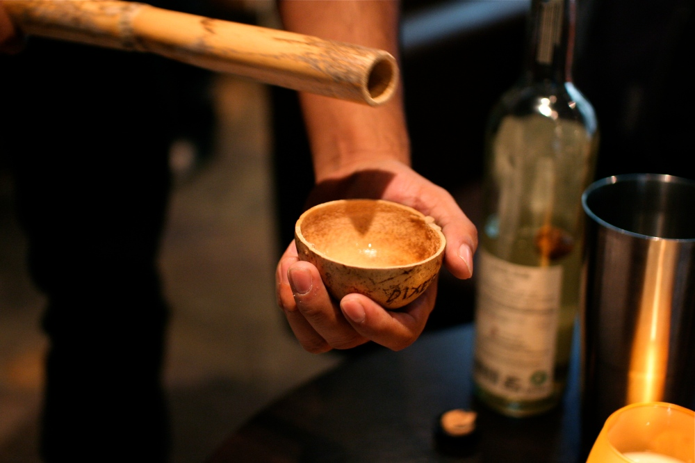 A traditional way of serving the mescal (and measuring the ABV)